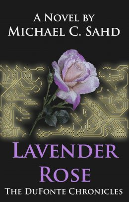 Lavender-colored rose against a technology background